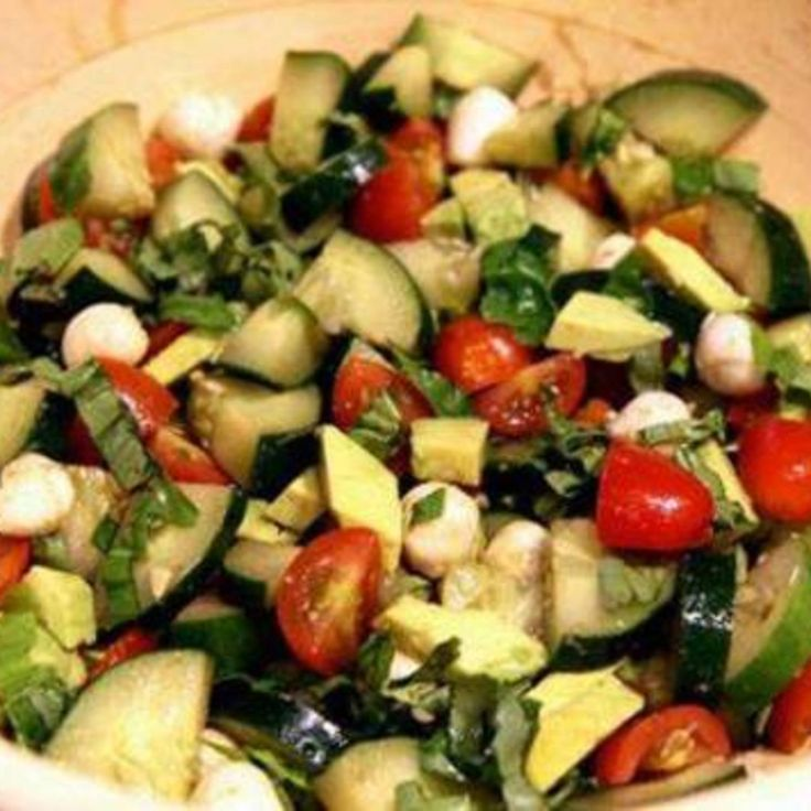 Cucumber Avocado Caprese Salad Recipe 2 | Just A Pinch Recipes