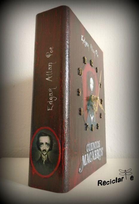 """Si los """"Cuentos Macabros"""" de Edgar Allan Poe te pusieron la piel chinita, seguramente este libro-reloj-caja secreta también.  Producto 100% artesanal, pintado a mano y elaborado con madera y papel reciclados."""