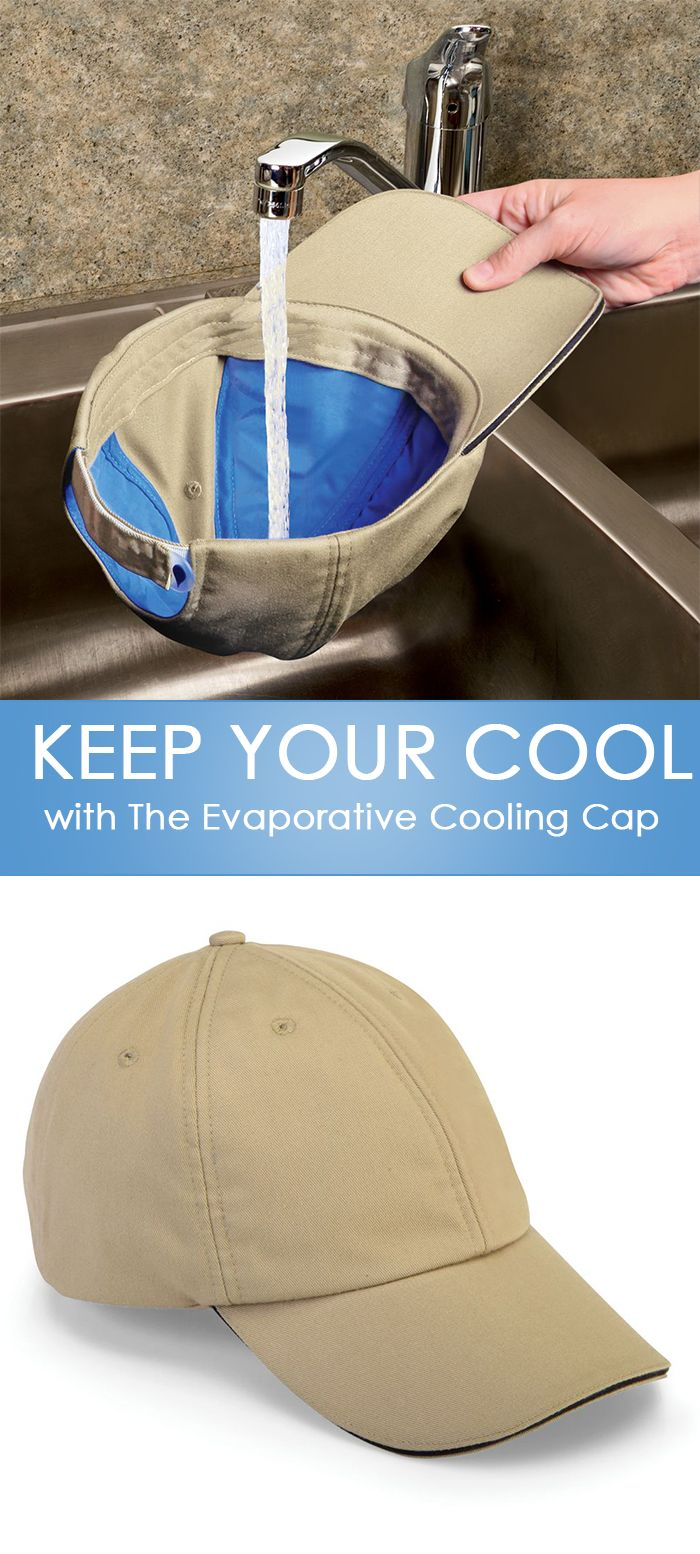 This is the cap that uses evaporation to keep your head up to 20º F cooler than outside air temperature. Only available from Hammacher Schlemmer, this is the only cap that cools the crown and provides cooling in the brim. Made by a supplier of cooling apparel to professional cycling teams, Olympic athletes, and the military, the hat is charged by submerging in cold water for at least two minutes, then wringing out the excess.