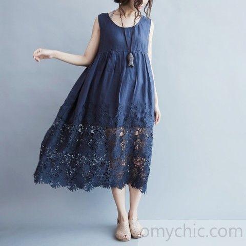 Elegantes blaues langes Leinenkleid plus Größe hohe Taille lange Baumwollkleider Boutique Spitzensaum Kleid