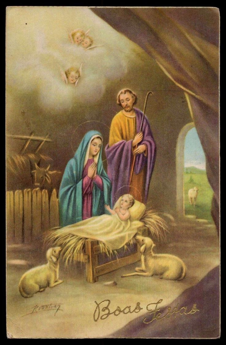 """NATIVITY - HOLY FAMILY, LAMBS & ANGELS Vtg 1960s SIGNED HOLY POSTCARD FOR SALE • $5.50 • See Photos! Money Back Guarantee. ORIGINAL Vintage 1960s SIGNED HOLY POSTCARD - NATIVITY - HOLY FAMILY, LAMBS & ANGELSin Portuguese: """"Happy Holidays""""Size: circa 3.46 x 5.39 inch = 88 x 137 mm Condition: Please see 400999242266"""
