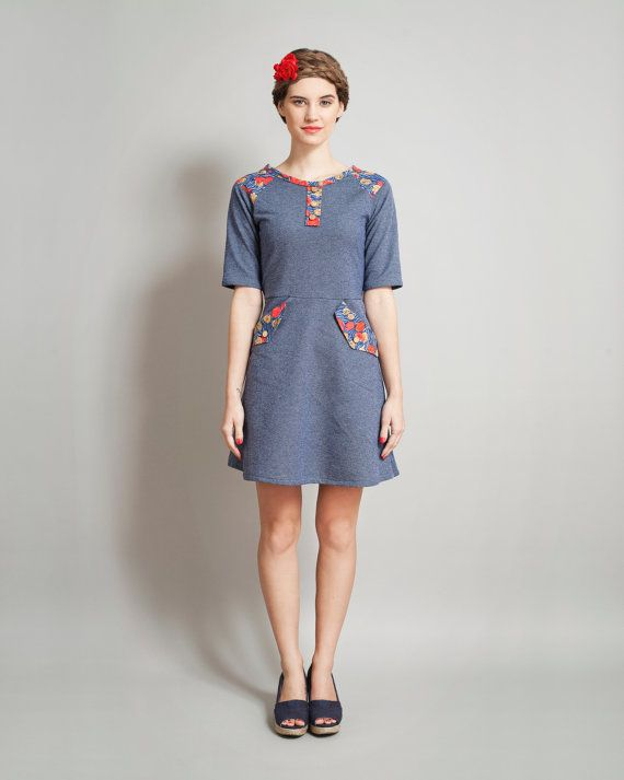 denim colored sweatshirt dress Supayana spring van supayana op Etsy, $85.00
