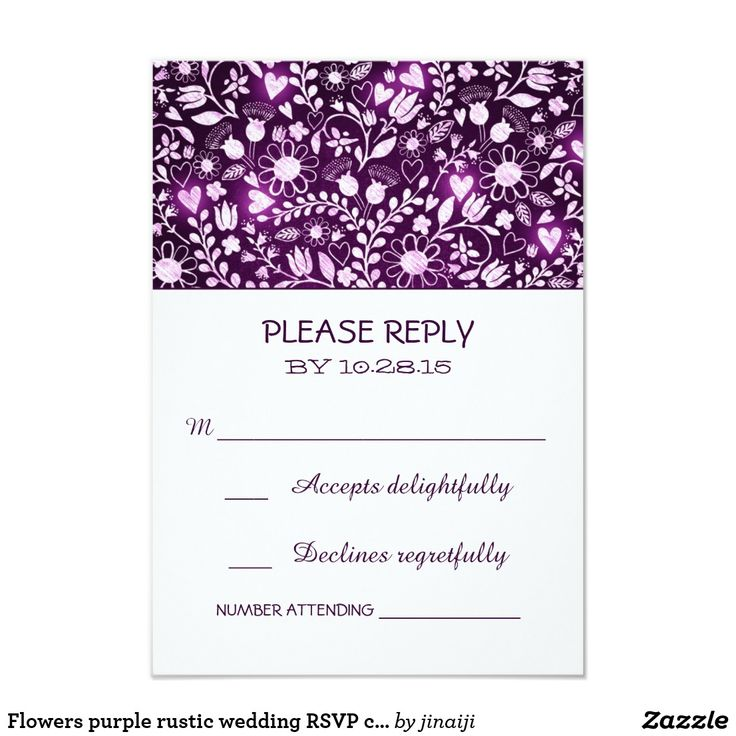 Flowers purple rustic wedding RSVP cards rustic country wedding reply cards with purple flowers and shining love hearts