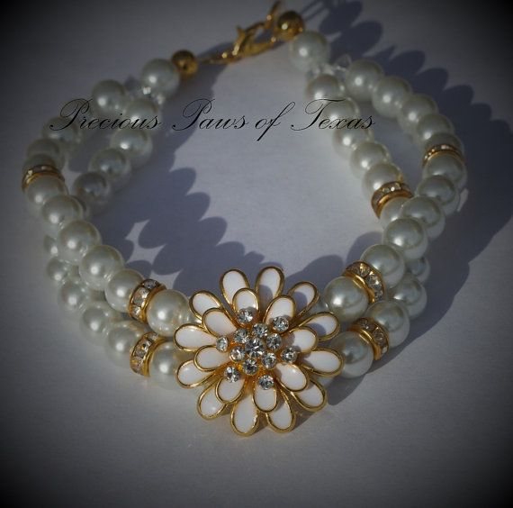 White Pearl Double Layer Pearl/Rhinestone/Gold Tone Flower Bling Dog Collar Custom Sized to Fit Your Dog