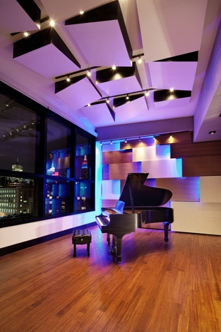 Acoustic panels for the studio ceiling