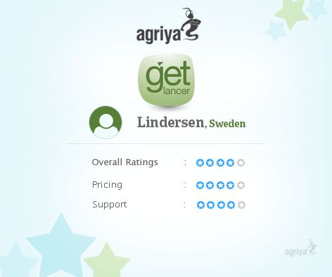 "A word from lindersen about Agriya's freelancer clone ""Its a really nice script. I give them 4,6 Stars out of 5. Some things that arnt 100% that will cost little extra. Ticket support 24H okay but would have wanted it faster. But overall very happy with it all."" For more Getlancer reviews: http://customers.agriya.com/products/getlancer/reviews"