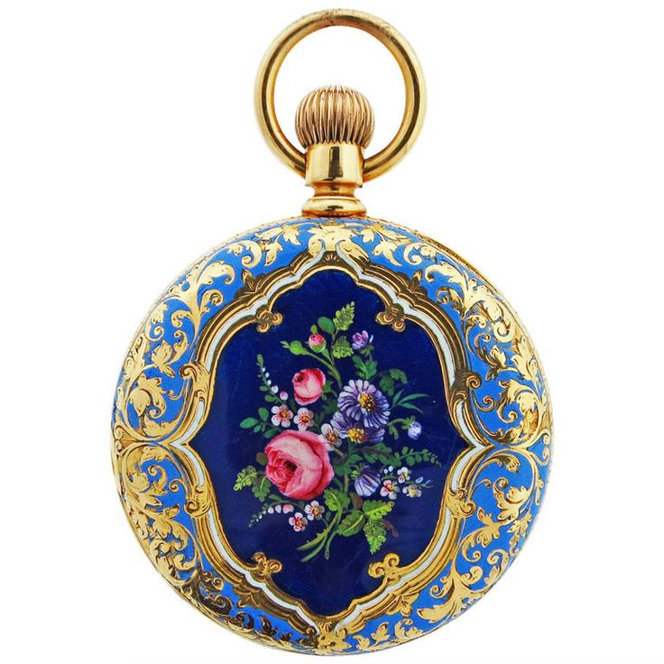 "Tiffany & Co. Yellow Gold and Enamel Pocket Watch circa 1900. Tiffany & Co. 18k yellow gold hunting cased pocket watch with floral and fruit enamel. Measuring 1 1/2"" diameter. Circa 1900 . Lever set,in good running order."