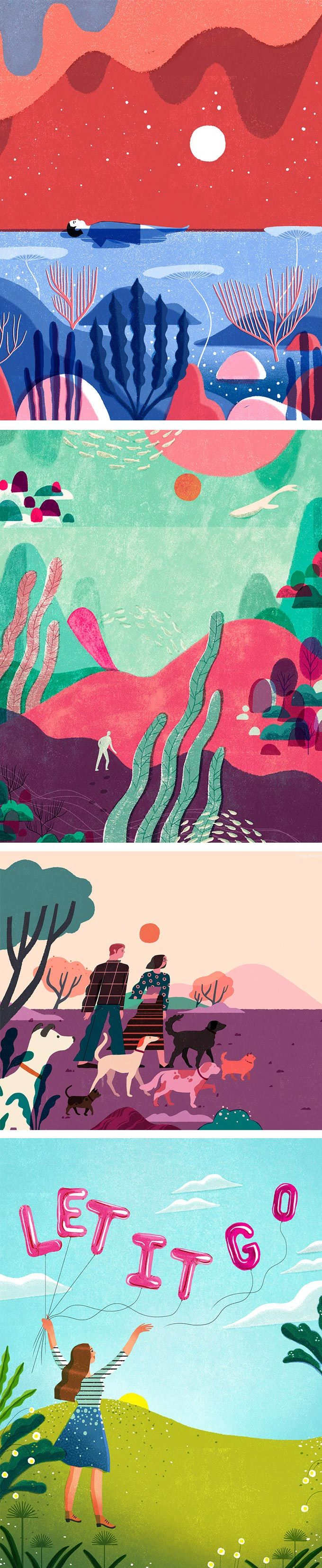 Geraldine Sy creates compositions inspired by the screen printing technique. Fields of distress-textured hues overlap and produce an off-registered effect.
