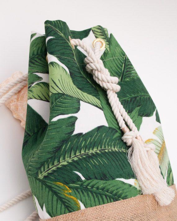 Playa de hoja de plátano verde bolso mochila Palma hoja imprimir por theAtlanticOcean