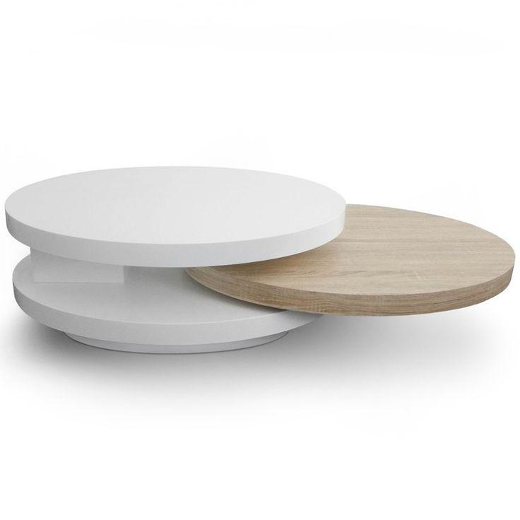 Table basse design ovale avec 2 plateaux tournantsBois laqué et bois contre-plaquéLa table basse GALA est un meuble au design moderne et épuré, qui sintégrera...