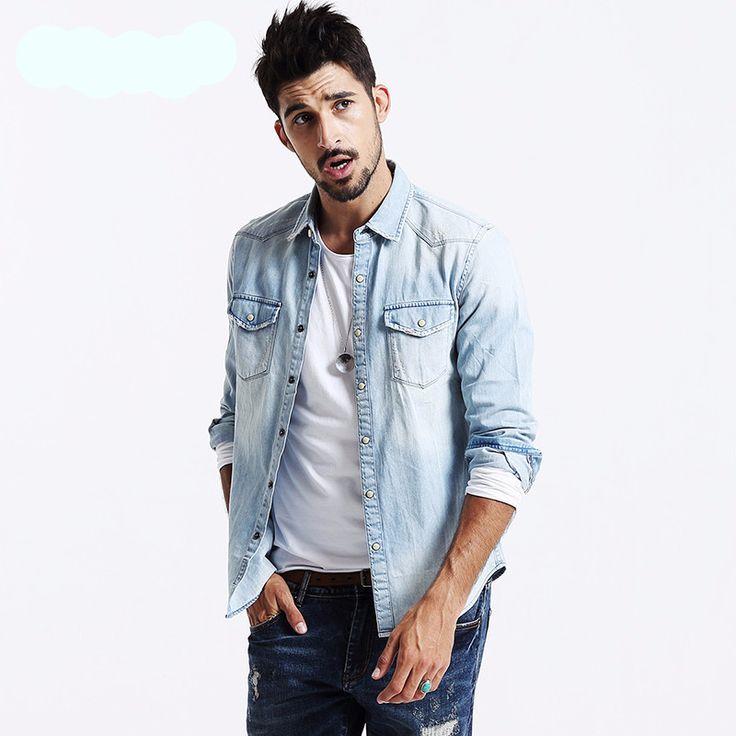 Button down shirts for men jeans shirt coat heren overhemden long sleeve designer slim fit brand clothing