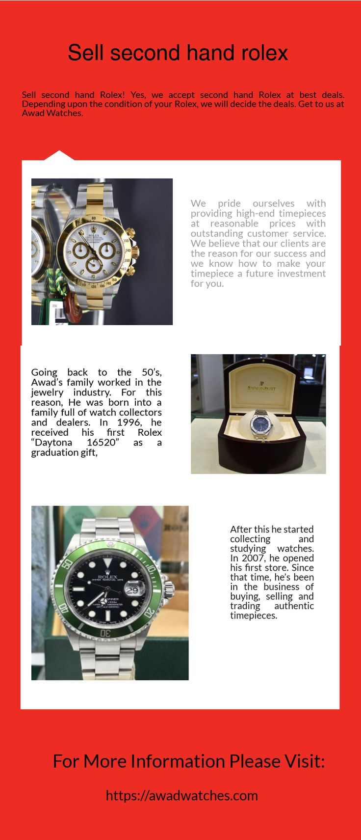 Sell second hand Rolex! Yes, we accept second hand Rolex at best deals. Depending upon the condition of your Rolex, we will decide the deals. Get to us at Awad Watches. Visit: https://awadwatches.com