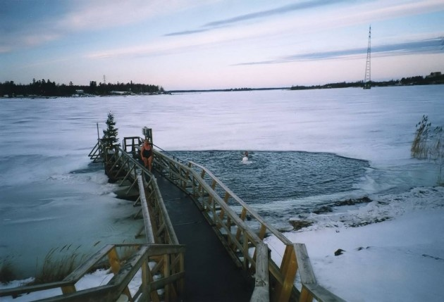 Winter Swimming in Finland. There are usually at least warm changing cubicle and perhaps even a hot sauna.
