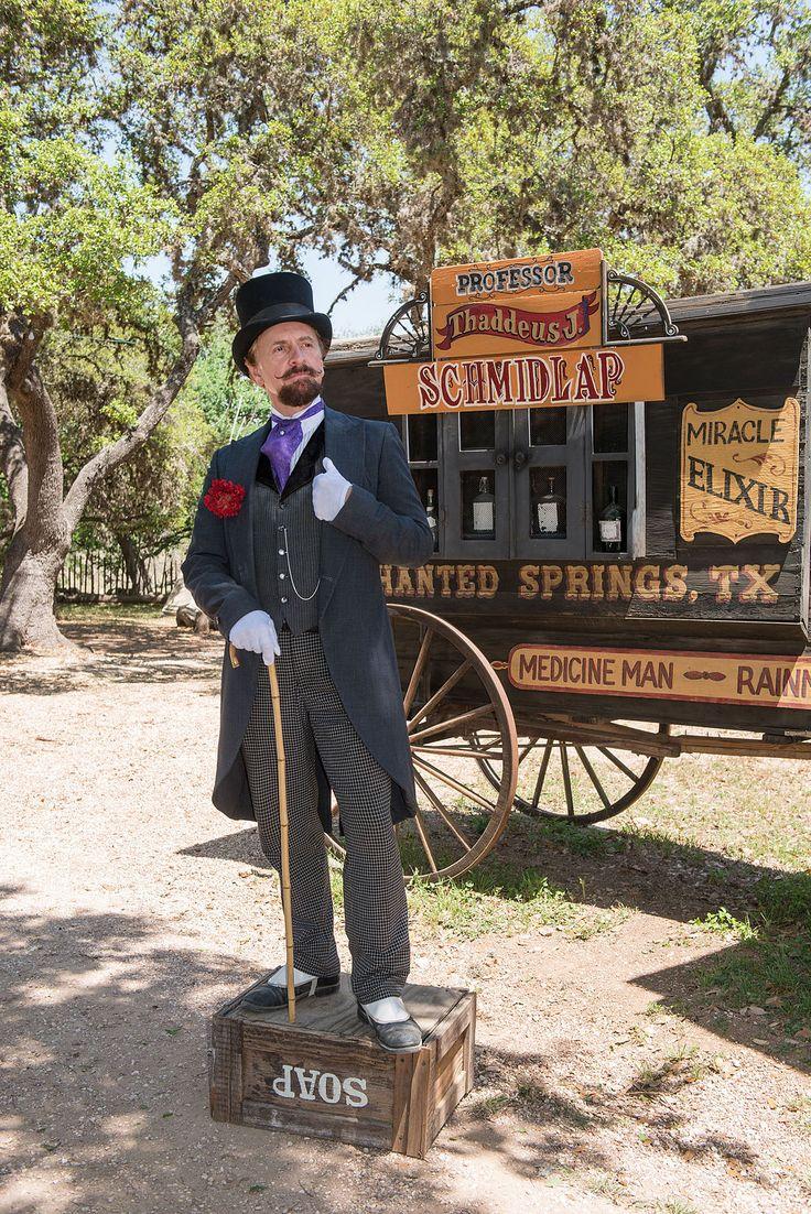 Snake-oil salesman Professor Thaddeus Schmidlap at Enchanted Springs Ranch, Boerne, Texas, USA 28650a - Snake oil - Wikipedia, the free encyclopedia