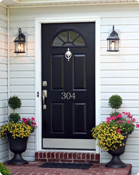 Black front door - Click image to find more Home Decor Pinterest pins