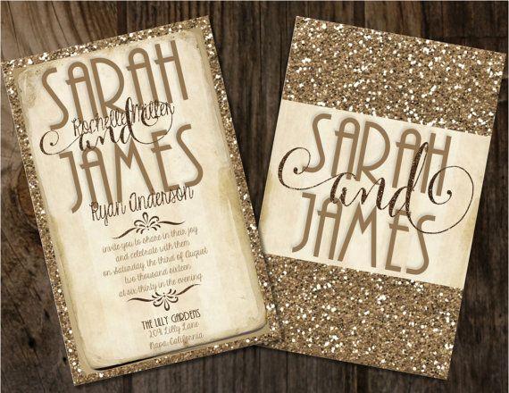 Gold Glitter Wedding Invitation Gold and by Joyinvitations on Etsy