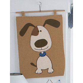 dog felt wall hanging