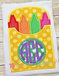 Monogram Crayon Box Applique - 4 Sizes! | What's New | Machine Embroidery Designs | SWAKembroidery.com Creative Appliques