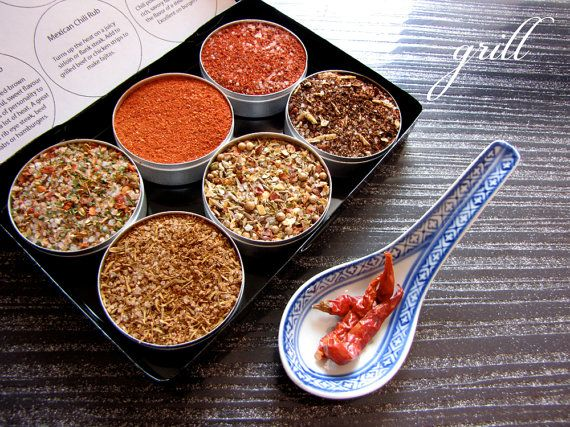 gourmet BBQ rubs kit for red meat and burgers - the perfect gift for him - 6 containers in a gift box. $18.00, via Etsy.