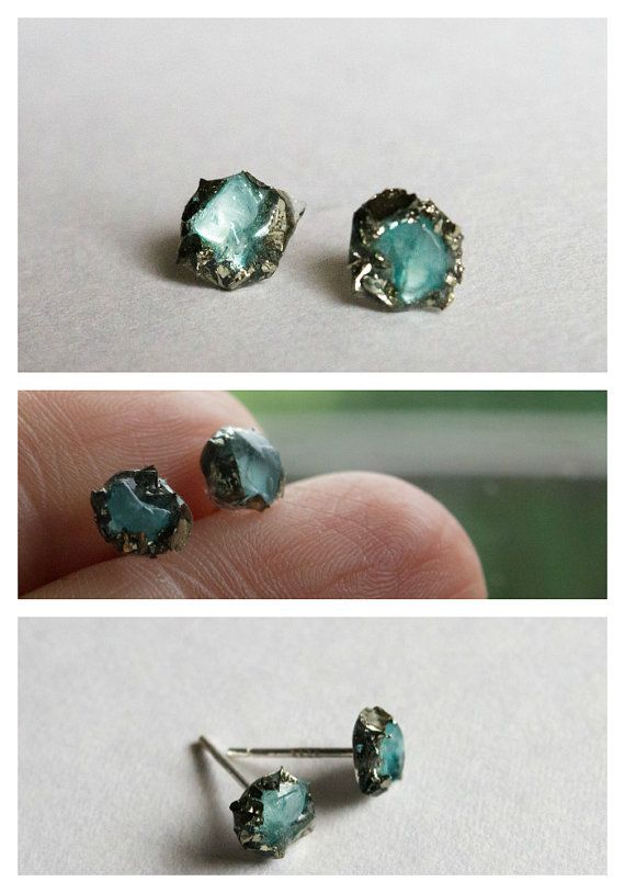 Turquoise Gold Stud earrings studs raw by CraftsGardenOfZen