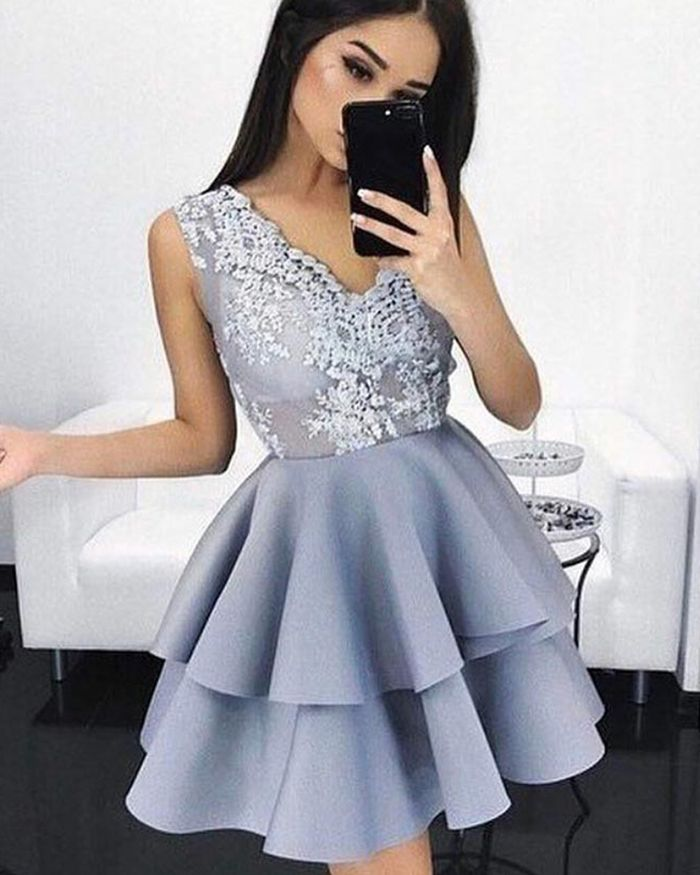 93c04b82092 v-neck layered satin lace appliqued homecoming dress, dusty blue short prom  dress