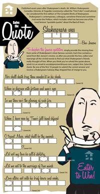 Cartão de Jogo de Shakespeare