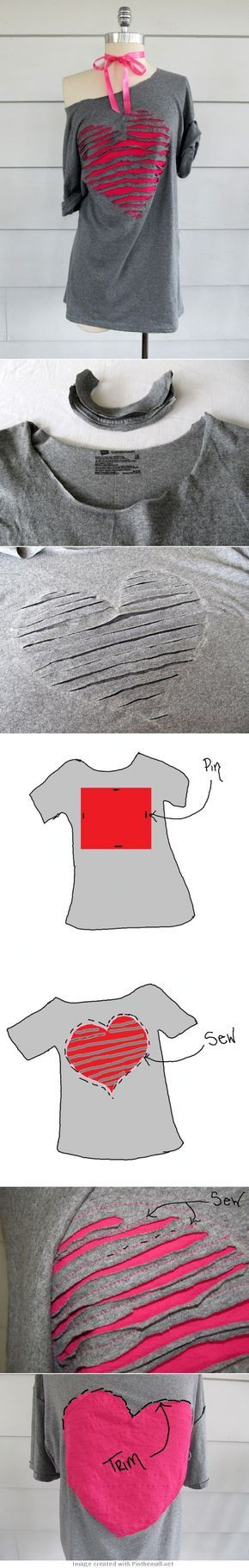 DIY Off the shoulder upcycled heart t shirt tutorial from WobiSobi, love this site!