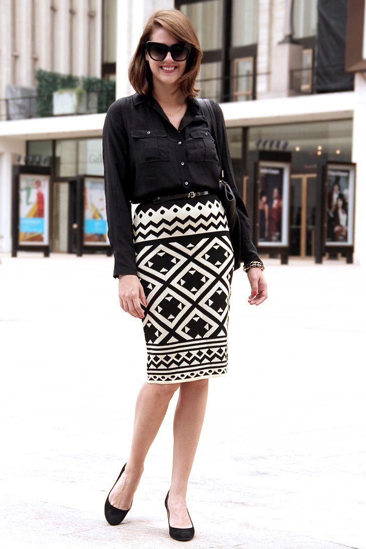black and white skirt with black shirt