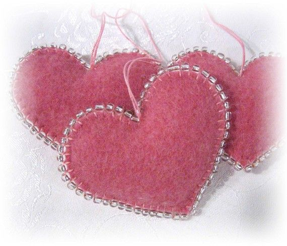 Trio of Pink Heart Ornaments Handmade from Wool Felt ♥