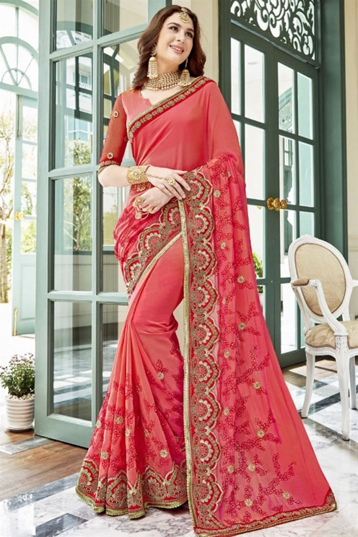 46d6626db5 Latest Stylish Trends Of Party Wear Saree Designs 2018-2019 ...