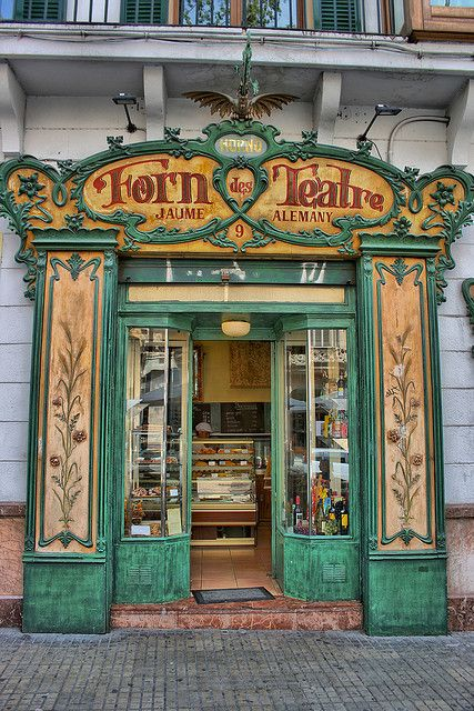 Forn des Teatre, Palma, Mallorca  Oldest bakery in towm. Buy you ensaimades there, like the Spanish Royal family. A modernism jowel