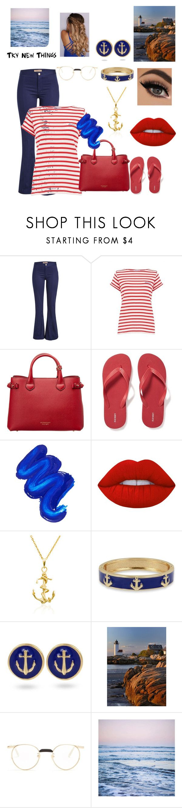 """""""Get Wet"""" by miramirror04 ❤ liked on Polyvore featuring Maggie Marilyn, Maison Labiche, Burberry, Old Navy, Mermaid Salon, Lime Crime, Crown & Ivy, Gucci and Leah Flores"""
