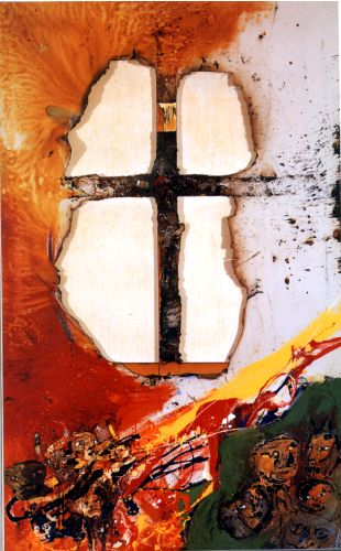 """Luis Felipe Noe, b. 1933 - Argentinean  """"Christ Before The People""""  Mixed Media on Canvas  75""""x45 1/2""""  1963"""