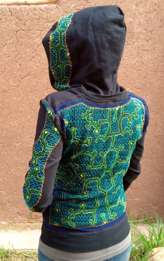 Large  Authentic Shipibo Embroidered Hoodie   Tribal by Onanya