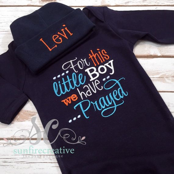 For this little Boy we have Prayed Baby Boy Gown Navy - Christian Baby Shower Gift - Baby Boy Coming Home Gown - Pregnancy Announement Shirt