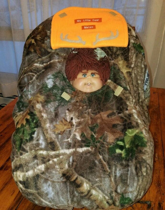 """Car Seat Cover True Timber Kanati Camo Baby n Blaze Orange Fleece Infant Custom Embroidery """"My Little Dear or My 1st Deer Stand"""" & Antlers by mamasgotmecovered on Etsy"""