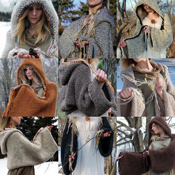 The Original EarthenPurl Hoodie: Solid Design. MADE-2-ORDER. handknit and crocheted woodland hoodie shrug.. $149.00, via Etsy.
