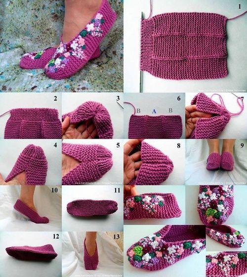 DIY Knit Lilac Slipper Tutorial / UsefulDIY.com