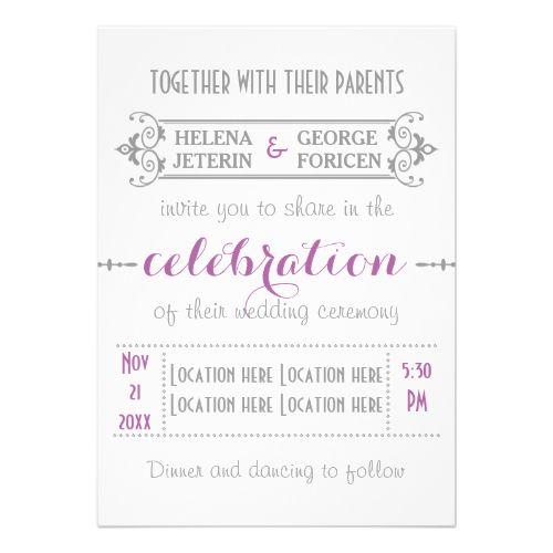 Modern typography purple, grey wedding invitation