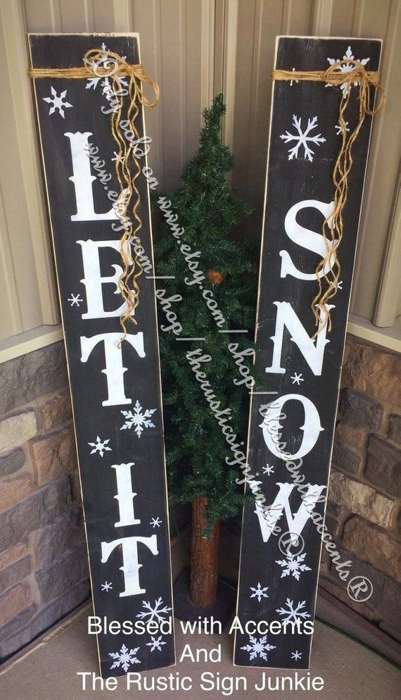 Let It Snow Sign Rustic Christmas Decor Large Porch Signs Front Door Decor Front Porch Signs Primitive Christmas Decor Let It Snow Christmas Decorations Rustic Wood Christmas Decorations Porch Signs