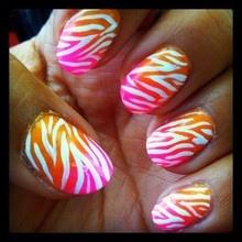 i love these~Pink Zebra, Nails Art, Nails Design, Orange Zebras, Colors, Summer Fade, Zebra Nails, Zebras Prints, Zebras Nails