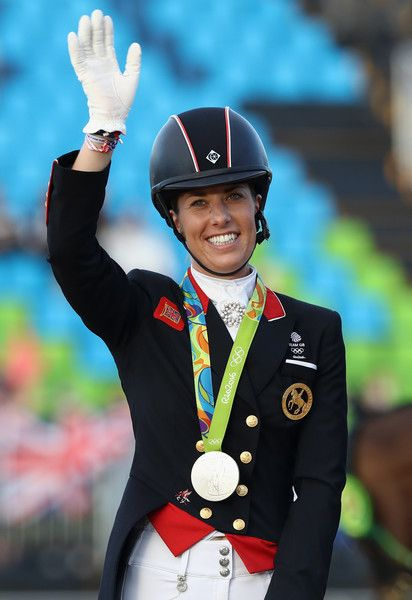 Charlotte Dujardin of Great Britain who won a team and individual silver celebrates during the final day of the Dressage Grand Prix event on Day 7 of the Rio 2016 Olympic Games held at the Olympic Deodora Equestrian Centre on August 12, 2016 in Rio de Janeiro, Brazil.
