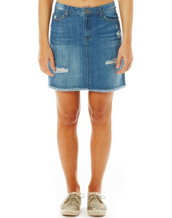 Rip Detail Denim Skirt