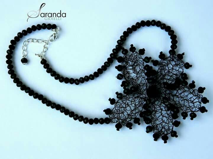 Crochet wire necklace,  Black crochet wire necklace