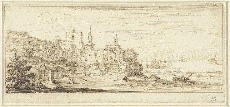 Israël Silvestre | Kustgezicht met een klooster, Israël Silvestre, 1631 - 1691 | Kustgezicht in het midden een klooster met hoge muren, rechts een zee met schepen. Ontwerp voor een prent.
