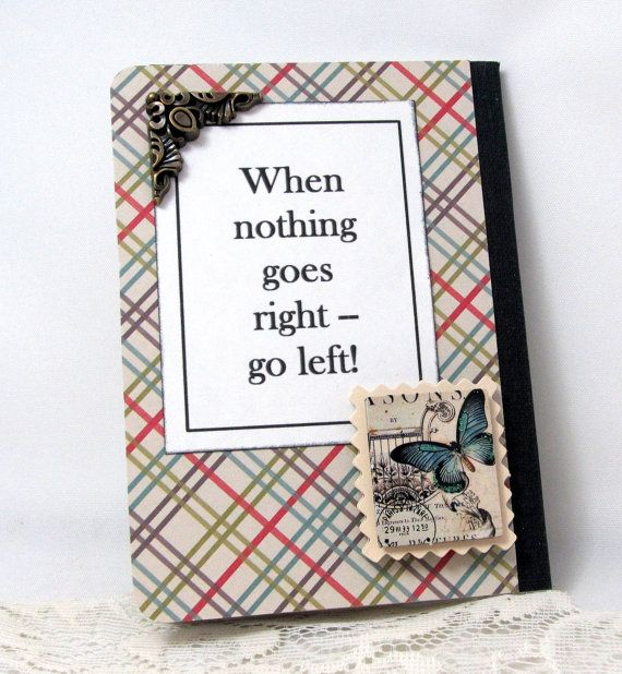 Left Handed Mini Journal  Lefty Mini Notebook by PrettyByrdDesigns