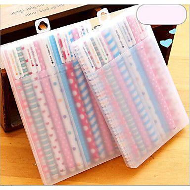 Pen+gel+Caneta+Canetas+Gel+Caneta,Plástico+Barril+Vermelho+/+Preto+/+Azul+/+Amarelo+/+Púrpura+/+Dourado+/+Laranja+/+Verde+cores+de+tinta+–+BRL+R$+27,01