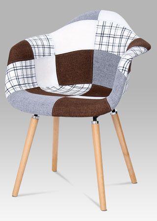 CT-726 PW2  Moderní designová židle v oblíbeném provedení patchwork, nohy jsou z masivního dřeva v přírodním odstínu s černým kovovým výpletem. Tyto židle budou perfektním designovým doplňkem jídelen, kuchyní, kanceláří, apod. Nosnost této židle je do 110 kg.