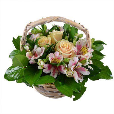 Букет «Невеста» - миниатюрная корзиночка цветов для романтичной, нежной и трепетной барышни. С таким подарком можно прийти на девичий День Рождения или отправить его любимой в офис с пожеланием доброго утра и отличного настроения. Кремовые розы — мягкое выражение восхищения и восторга, а бело-розовое кружево альстромерий и зелень придают композиции легкости и воздушности.