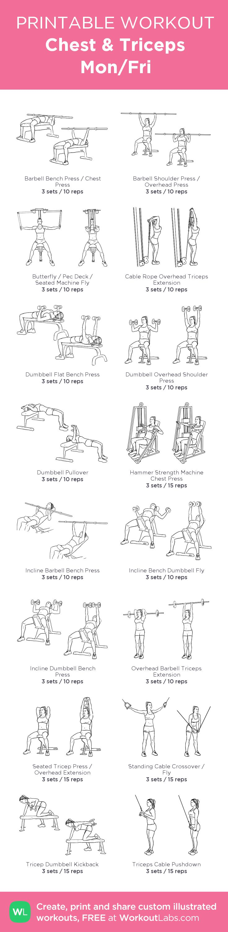 Chest & Triceps Mon/Fri:my visual workout created at WorkoutLabs.com • Click through to customize and download as a FREE PDF! #customworkout
